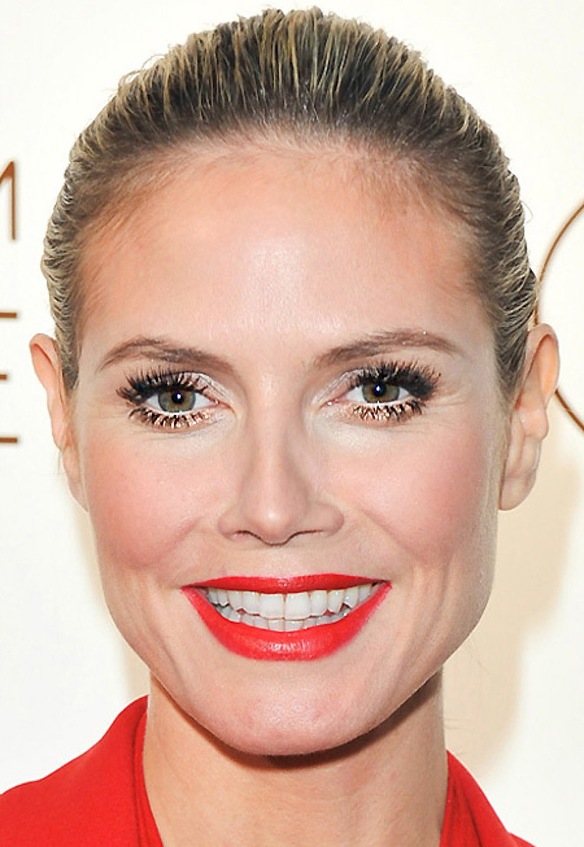 Heidi Klum at the launch of her perfume Shine; makeup by Linda Hay