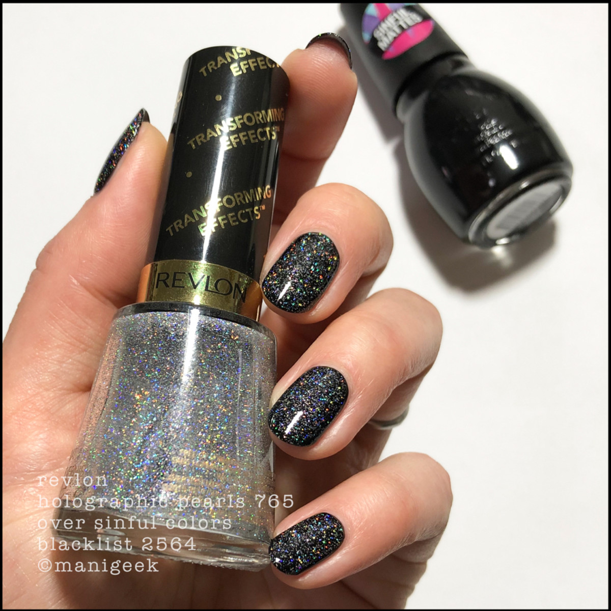 Sinful Colors Blacklist with Revlon Holographic Pearls _ Sinful Colors Swatches Matte Collection 2019