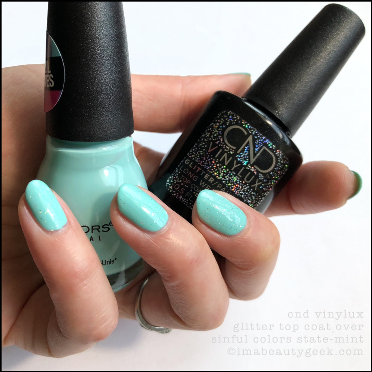 Sinful Colors State-mint with CND Glitter Top Coat _ Sinful Colors Swatches Matte Collection 2019