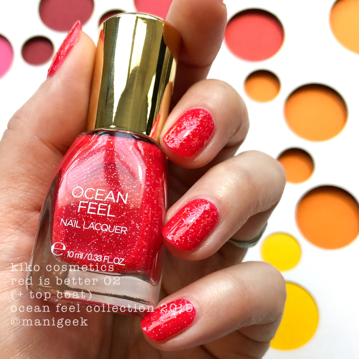 Kiko Red is Better 02 with Top - Ocean Feel Nail Lacquer 2019