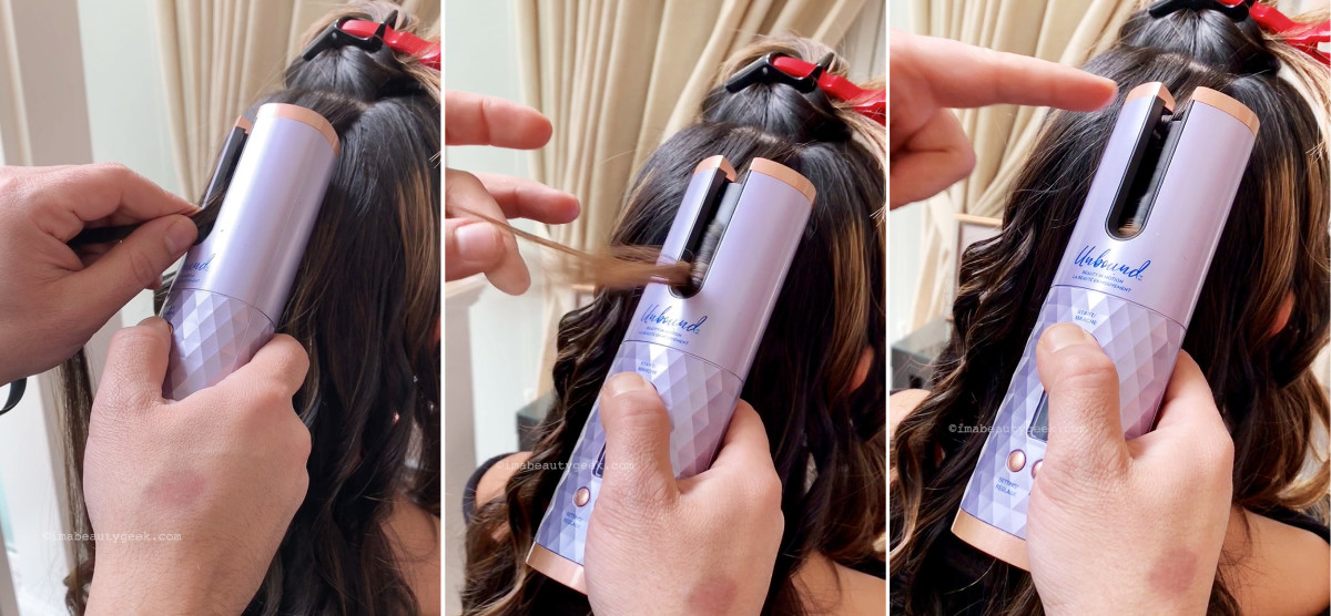 Conair Unbound Auto Curler: place 1/2-inch to 1-inch sections of hair in chamber and press start