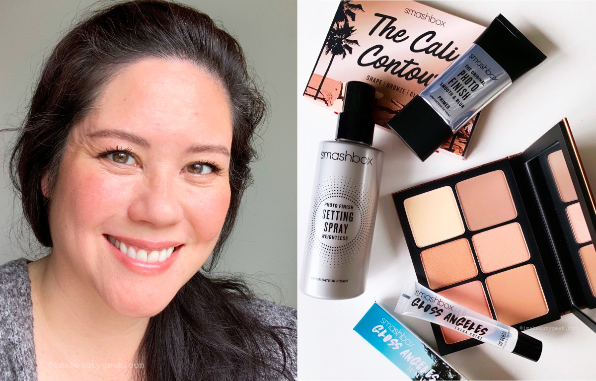 Wearing the Smashbox Cali Contour palette on face, eyes, cheeks and lips