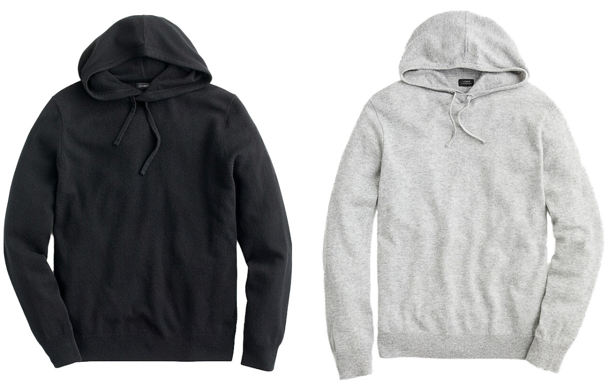 J Crew Cashmere Hoodie for him in black and grey