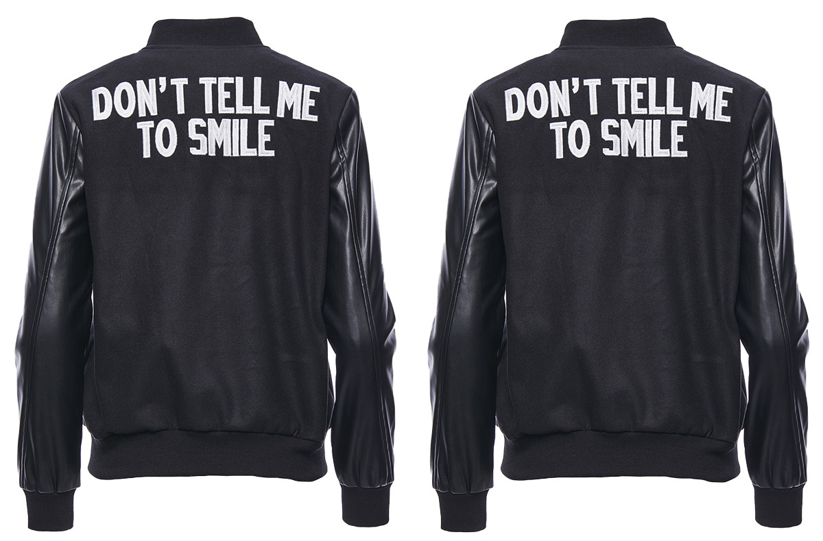 Don't Tell Me To Smile varsity jacket by Hilary MacMillan