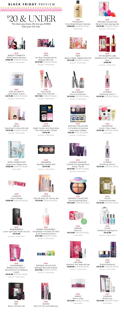 Sephora Canada Black Friday 2018 $20-and-Under deals