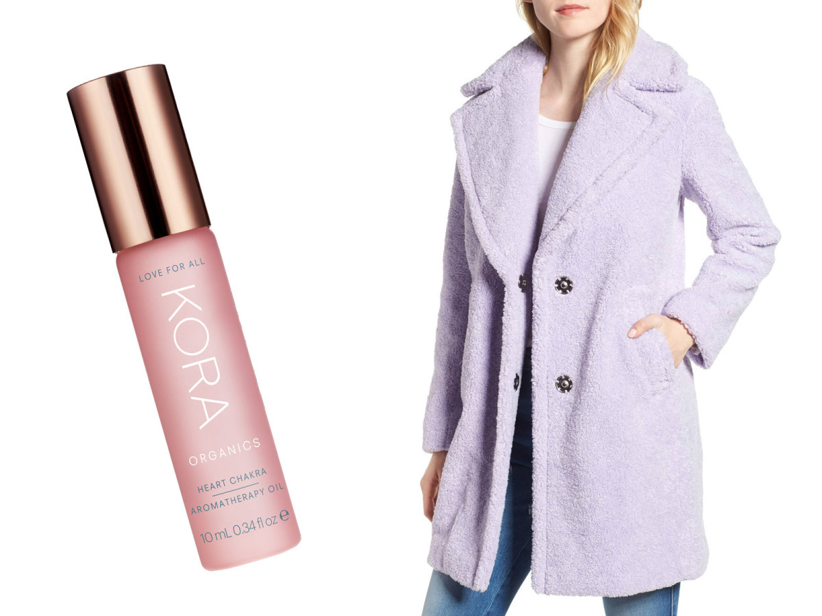 Kora Organics Heart Chakra Aromatherapy Oil and a Kensie Teddy Bear Coat
