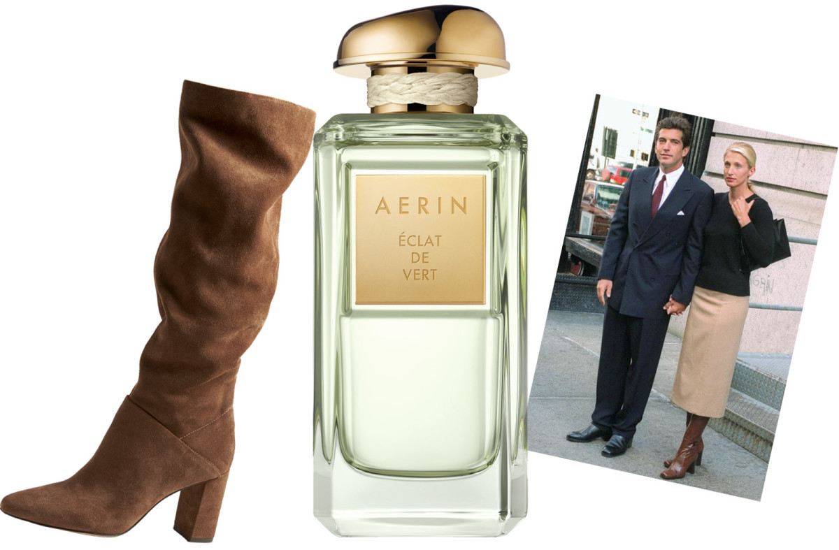 Banana Republic suede boot, Aerin Eclat de Vert, Carolyn Bessette-Kennedy with John Kennedy Jr.