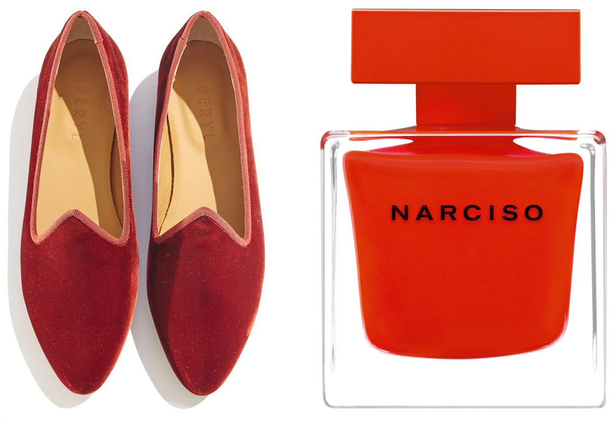 Le Monde Beryl Velvet Slipper Shoes and Narciso Rouge eau de parfum
