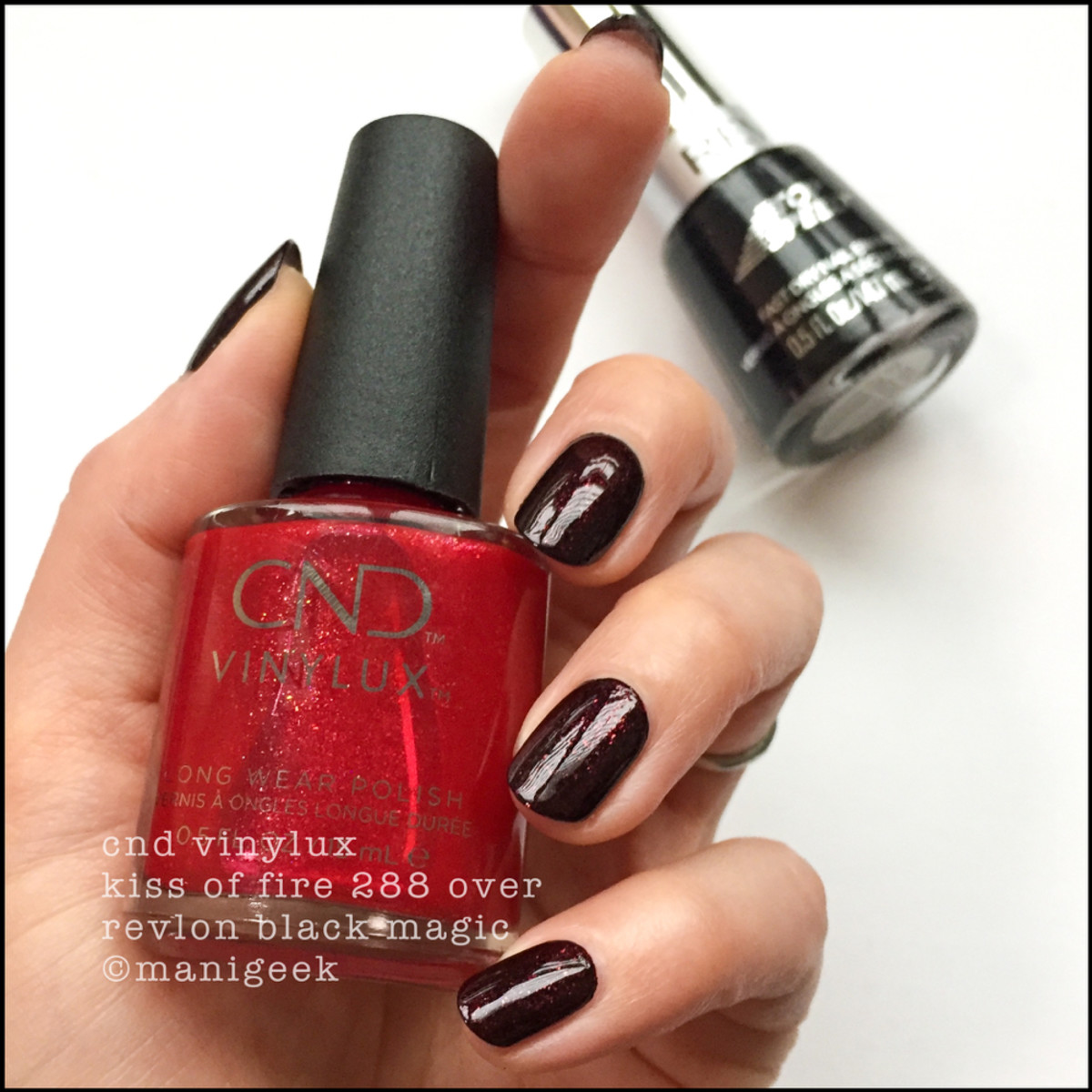 CND Kiss of Fire over Revlon Black Magic - CND Night Moves Collection Swatches Review