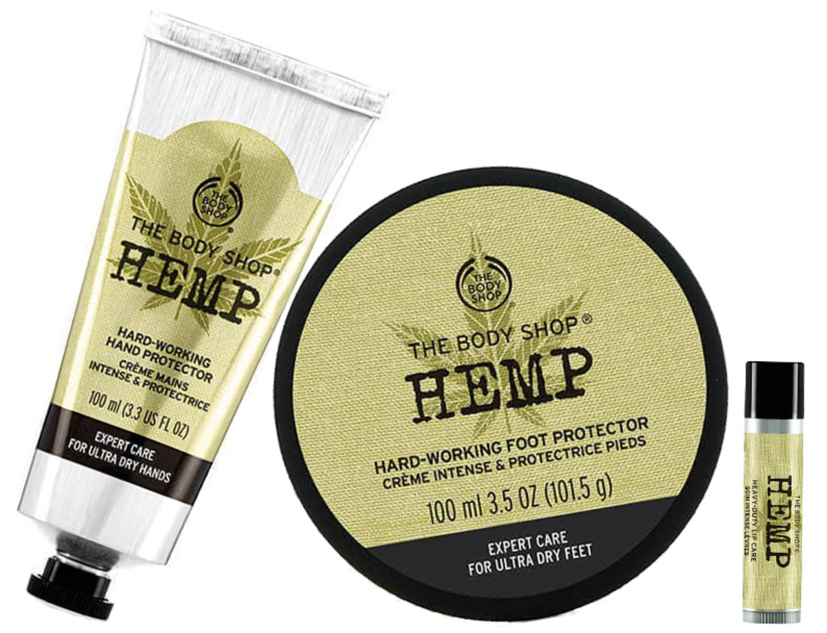 The Body Shop Hemp Hard-Working Hand Protector, Foot Protector and Lip Balm