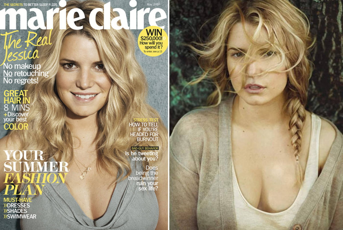 Jessica Simpson no makeup or understated makeup for Marie Claire 2010