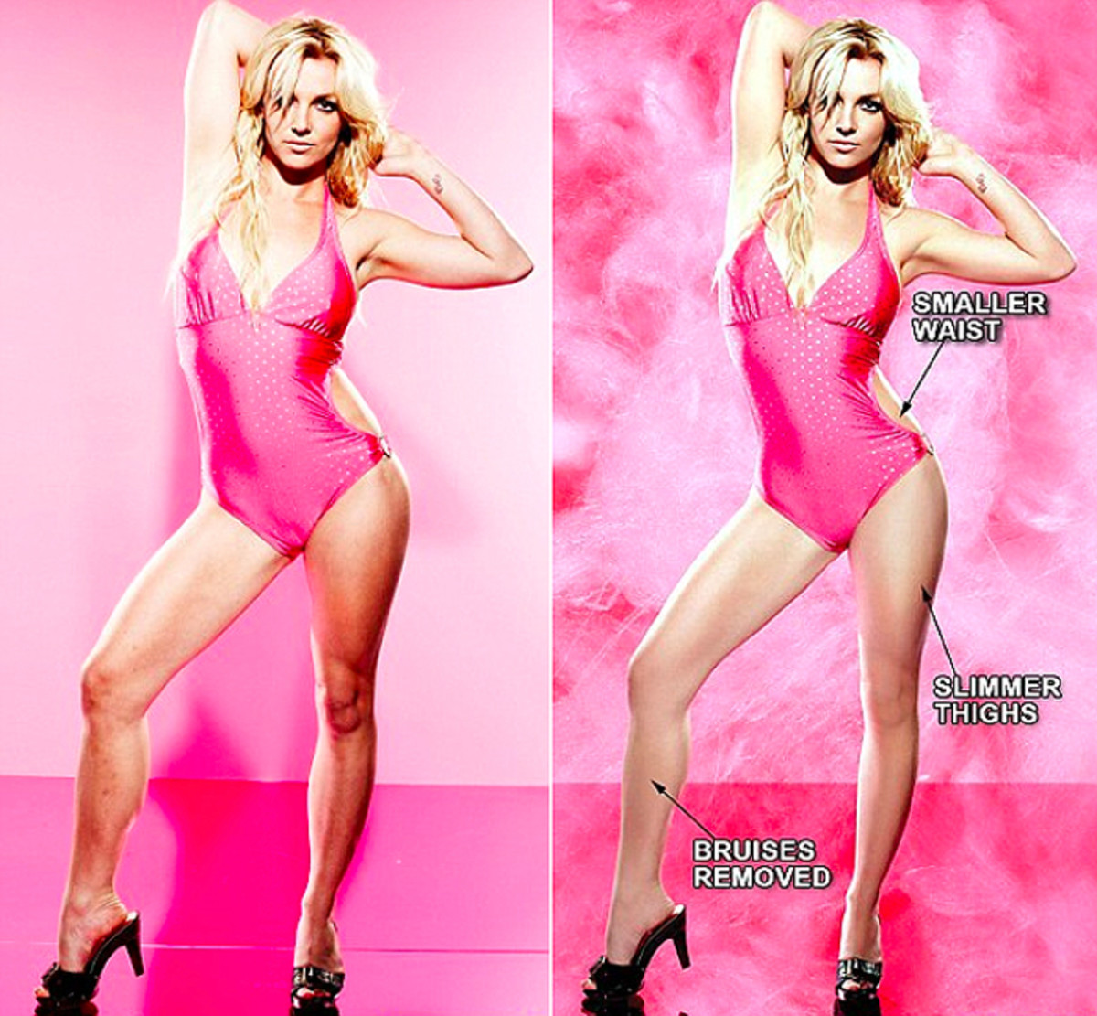 Britney Spears in a Candies campaign, pre- and post-retouching