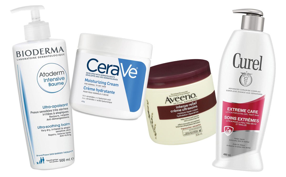 Atoderm Intensive Baume, CeraVe Moisturizing Cream, Aveeno Intense Relief and Curel Extreme Care all contain ceramides to help repair and reinforce skin's protective moisture barrier.