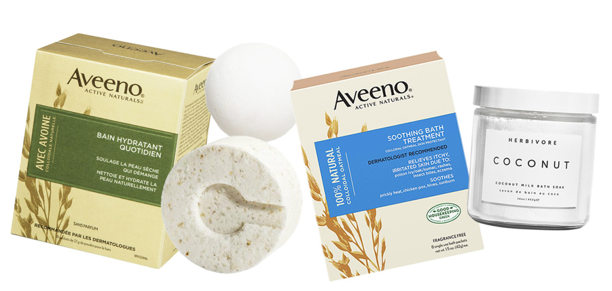 Winter-skin bath stuff: Aveeno Daily Moisturizing Bath; Consonant Hydrate Bath Bomb; DIY bath melt; Aveeno Soothing Bath Treatment; Herbivore Coconut Milk Bath Soak