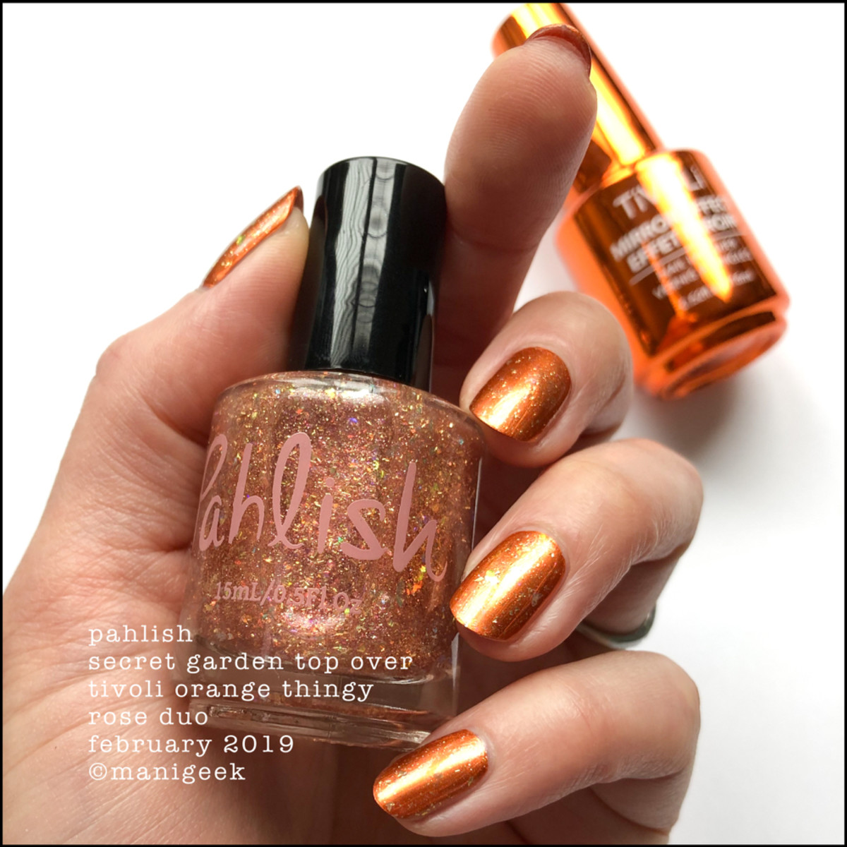 Pahlish Secret Garden over Tivoli Orange - Pahlish Rose Duo Feb 2019