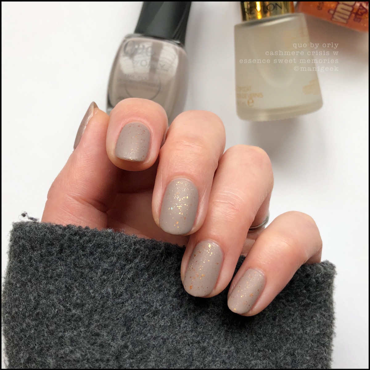 Quo by Orly Cashmere Crisis w Essence Top Mattified