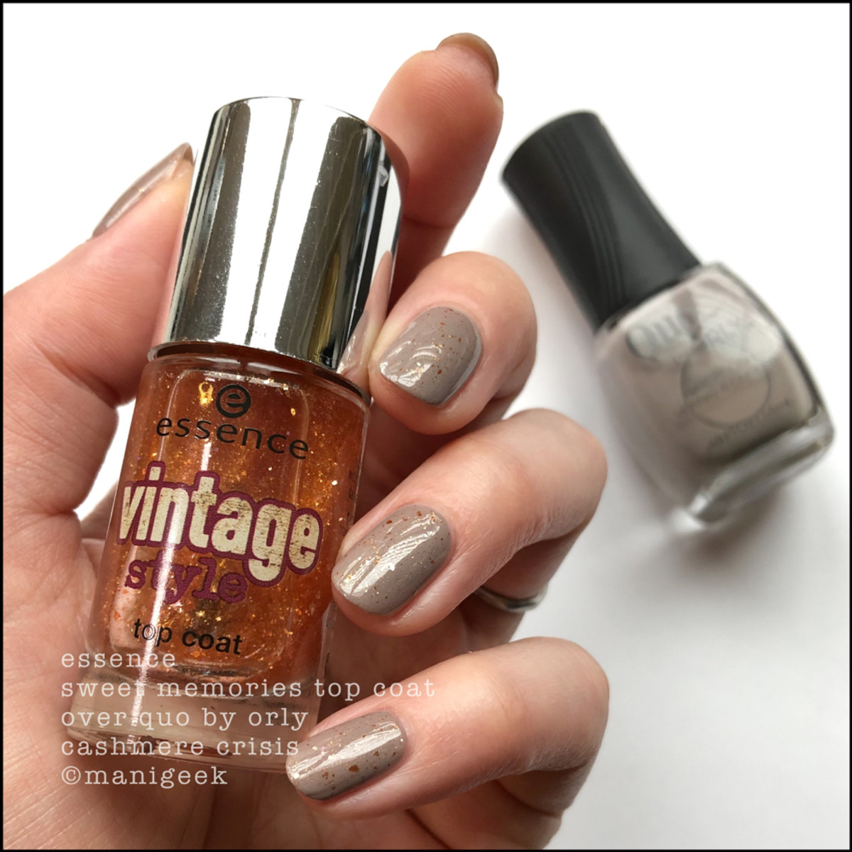 Quo by Orly Cashmere Crisis w Essence Sweet Memories Top Coat