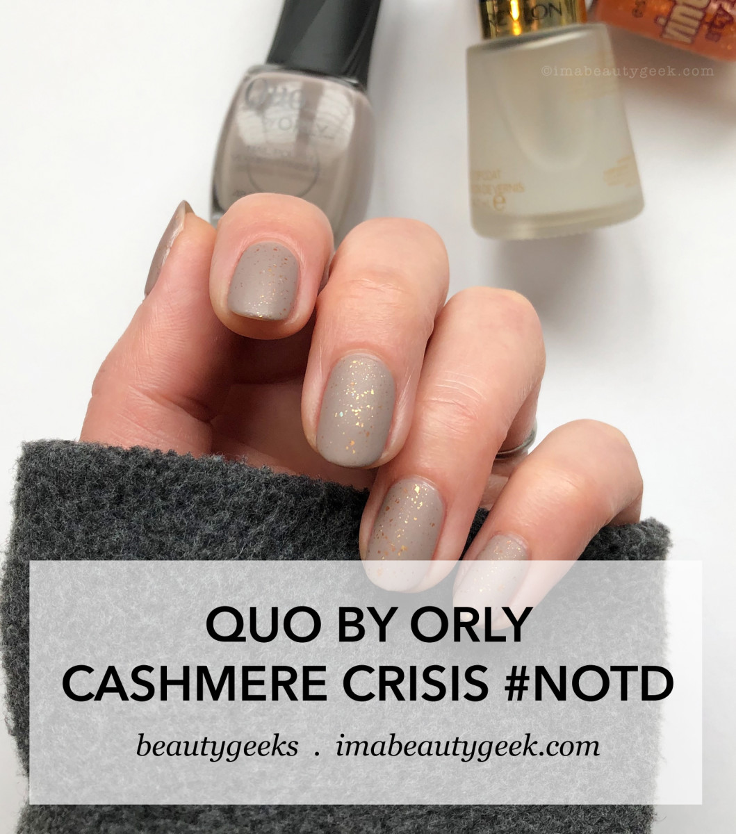 Quo by Orly Cashmere Crisis w Essence top coat