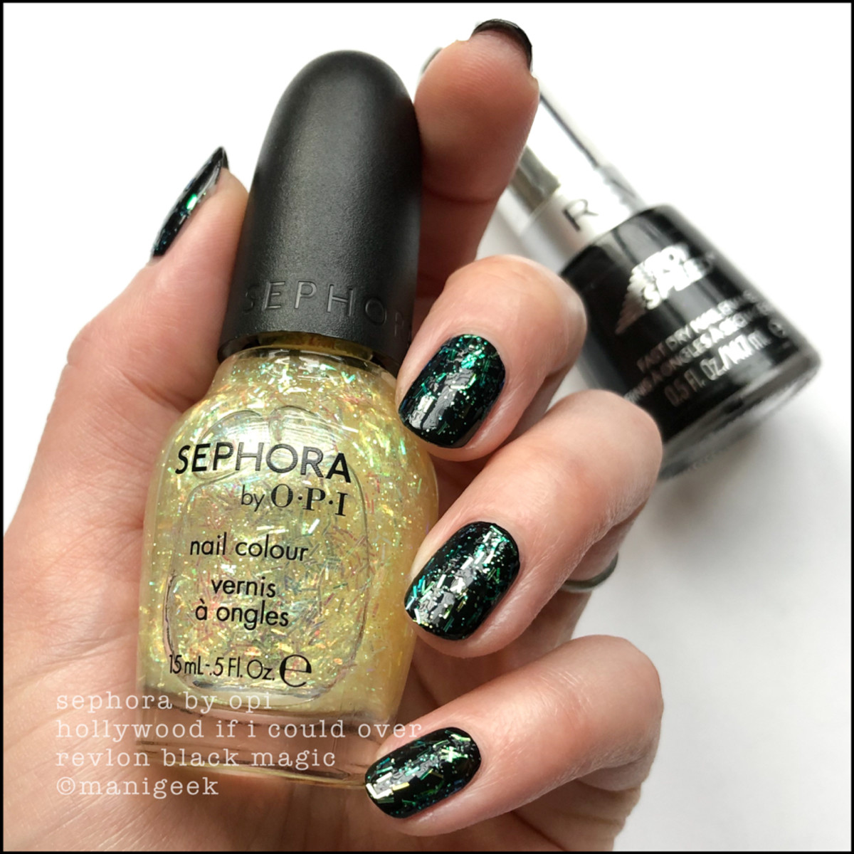 Sephora by OPI Hollywood If I Could over Black Magic