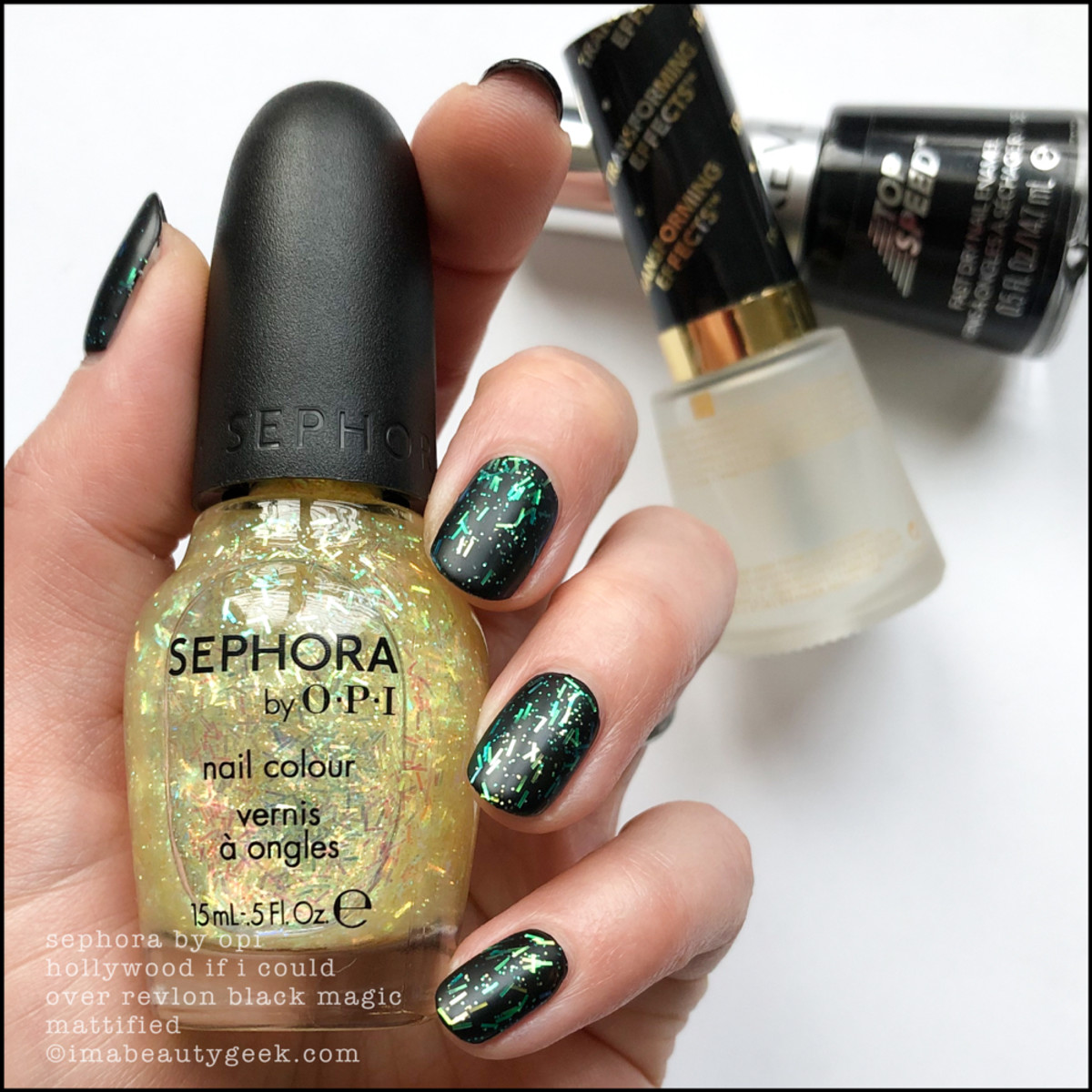 Sephora by OPI Hollywood If I Could over Black Magic Mattified