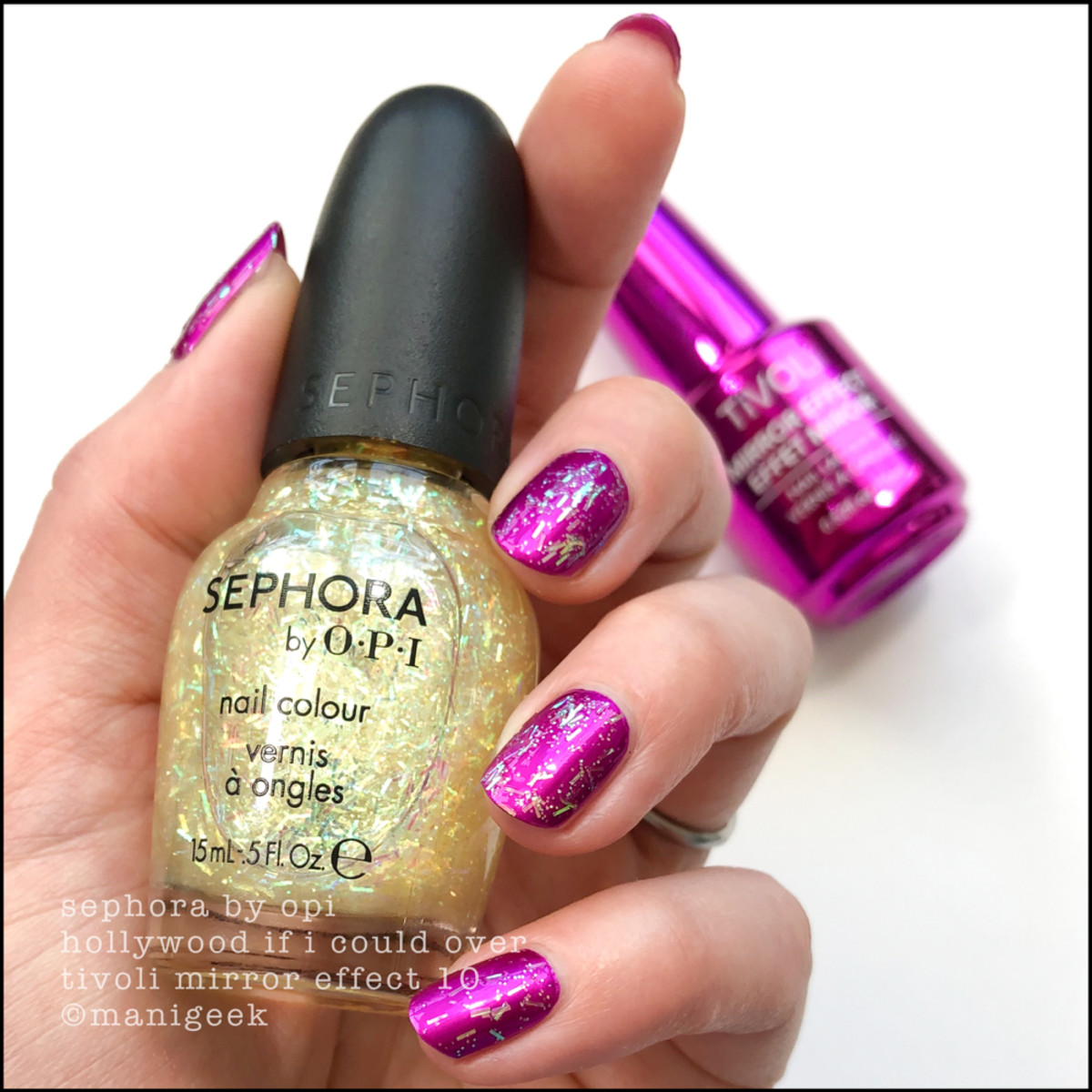 Sephora by OPI Hollywood If I Could over Tivoli Mirror Chrome Effect 10