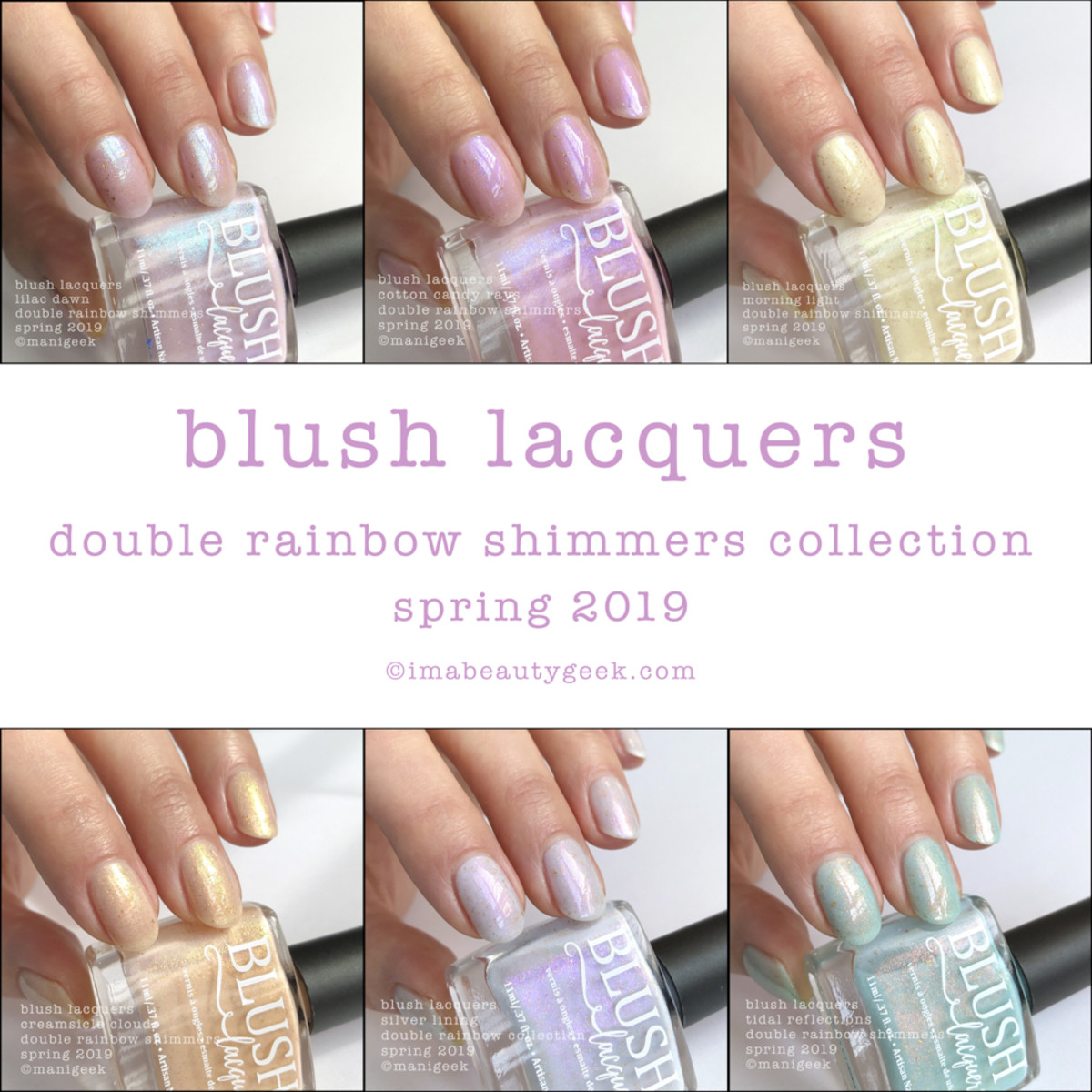 Blush Lacquers Double Rainbow Shimmers Collection Swatches