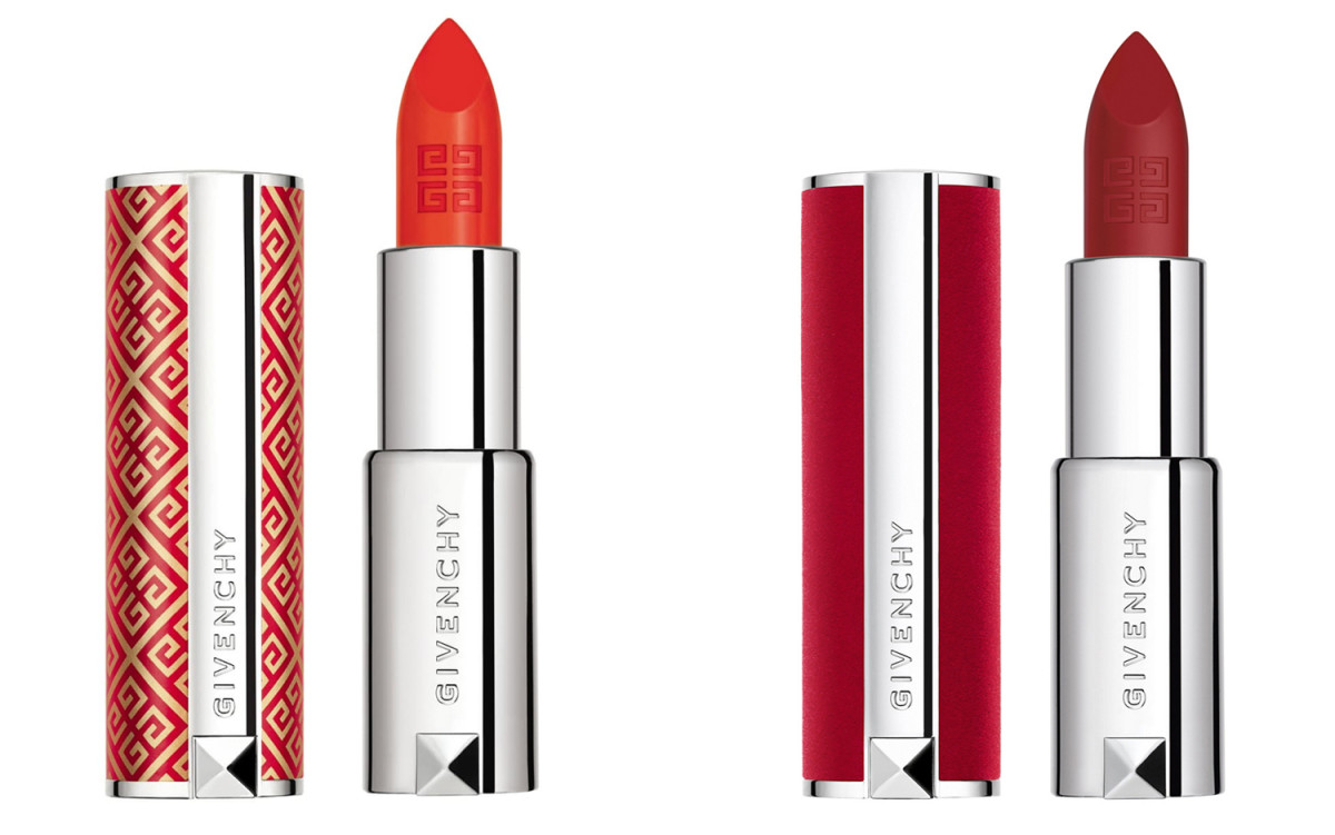Givenchy Lunar New Year Le Rouge Luminous Matte Lipstick in Orange Absolu; Le Rouge Deep Velvet Lipstick
