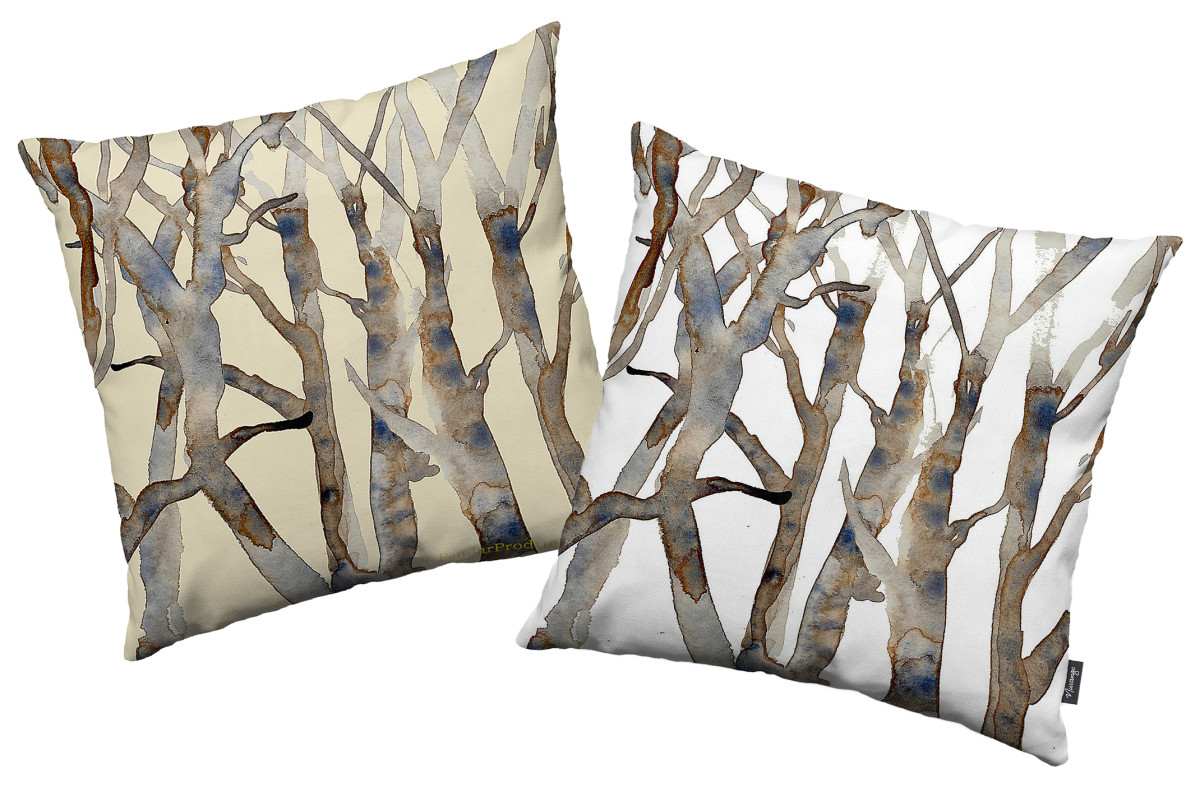 Pen Jar Productions Spring Branches print throw pillows in beige and white