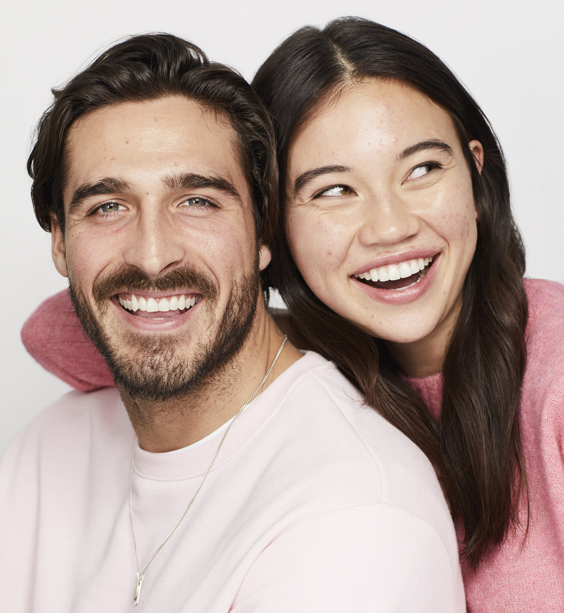 Models Gabriel and Teagan and their bare, un-retouched skin for Shopper's Drug Mart's Skin Celebrated campaign in January 2020
