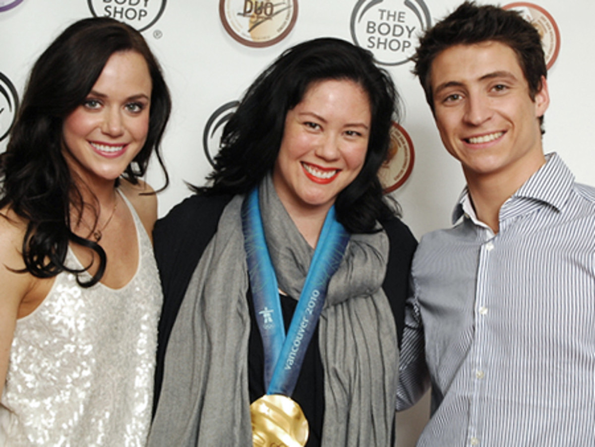 Tessa Virtue, Scott Moir and their 2010 Olympic Gold medal at the launch of The Body Shop Body Butter Duos.