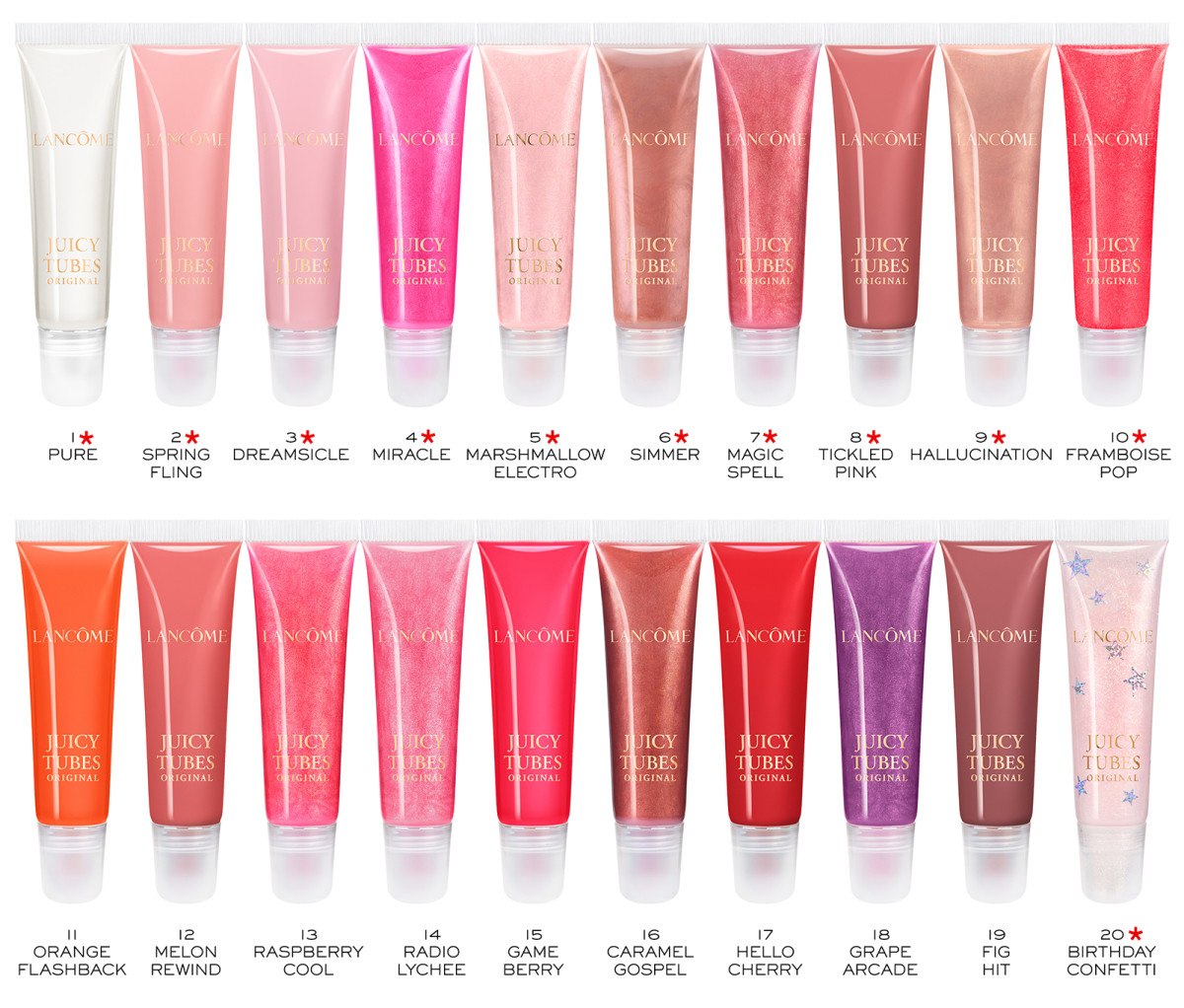 Lancôme Juicy Tubes 2020: all available in the USA; starred shades are available in Canada.