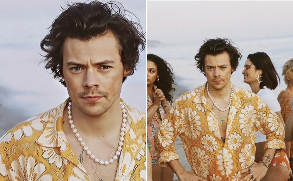 Harry Styles rocks pearls and yellow daisy print. (Photos: Bennett Kieth)